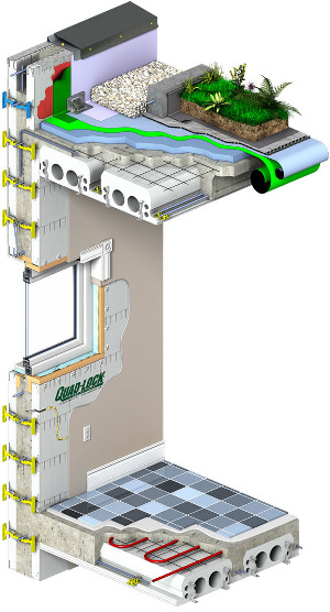 Quad-Lock ICF system with integrated floors and walls for Energy Efficient, LEED, Net-Zero, Passive House or Energy Star buildings